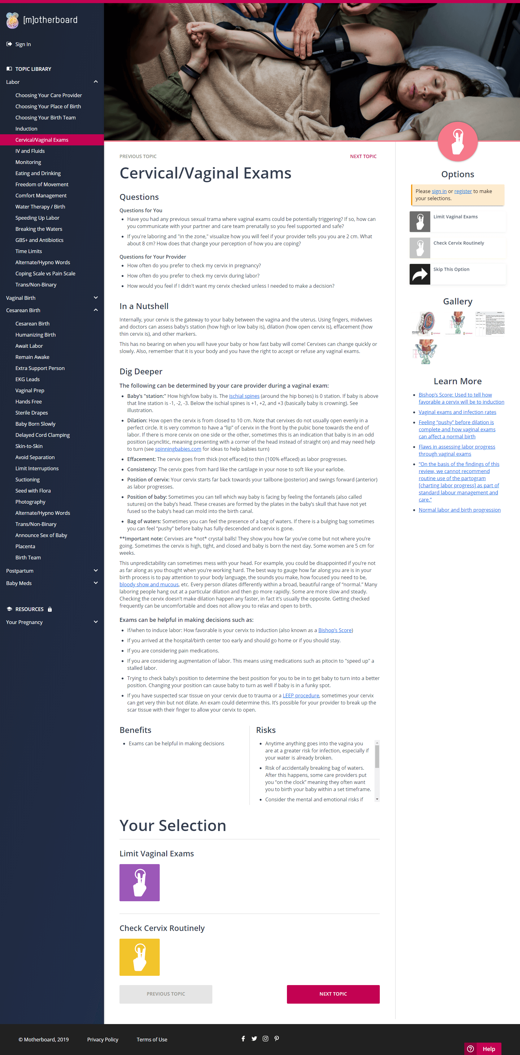 A screenshot of the Motherboard Birth page about cervical exams during labor