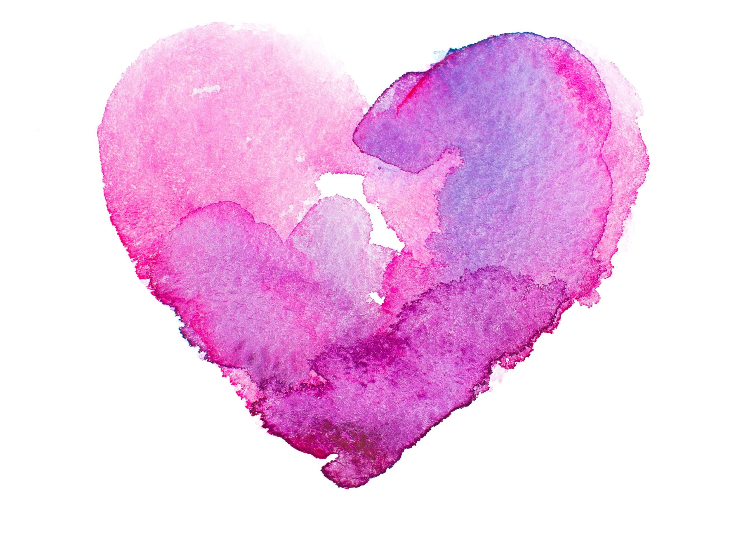 Pink watercolor heart Costa Mesa birth class