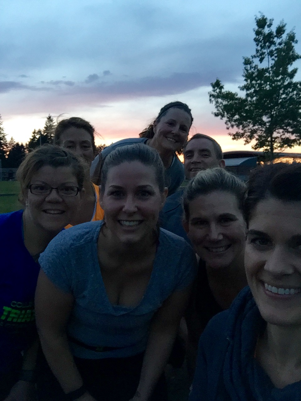 Post-workout group selfie from Cascade Middle School after killin' the 8x400m workout!