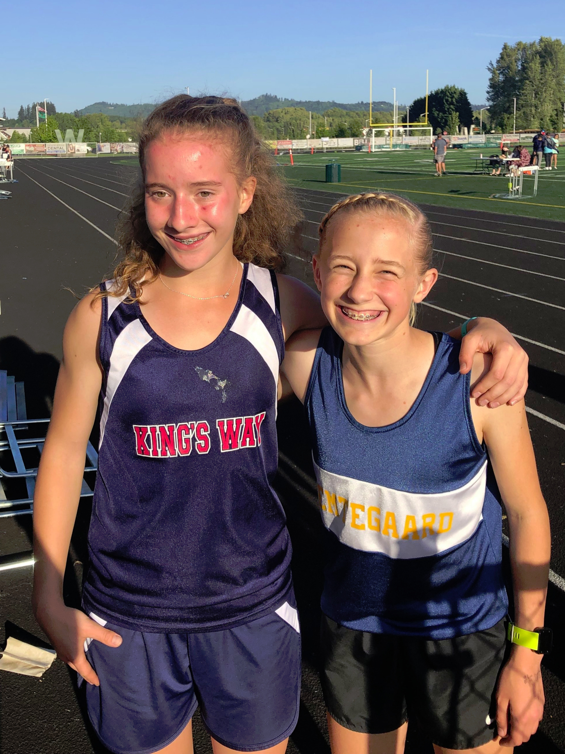 Hanna (left) and Elle (right) after an epic 800m district race.