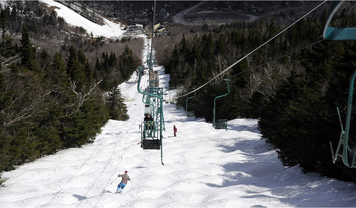 Spring bumps on Chute, located under the iconic single chair at Mad River Glen, VT