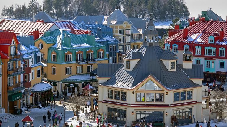 Village of Mont Tremblant, as seen from the Cabriolet lift that goes over the village to the base of the mountain.