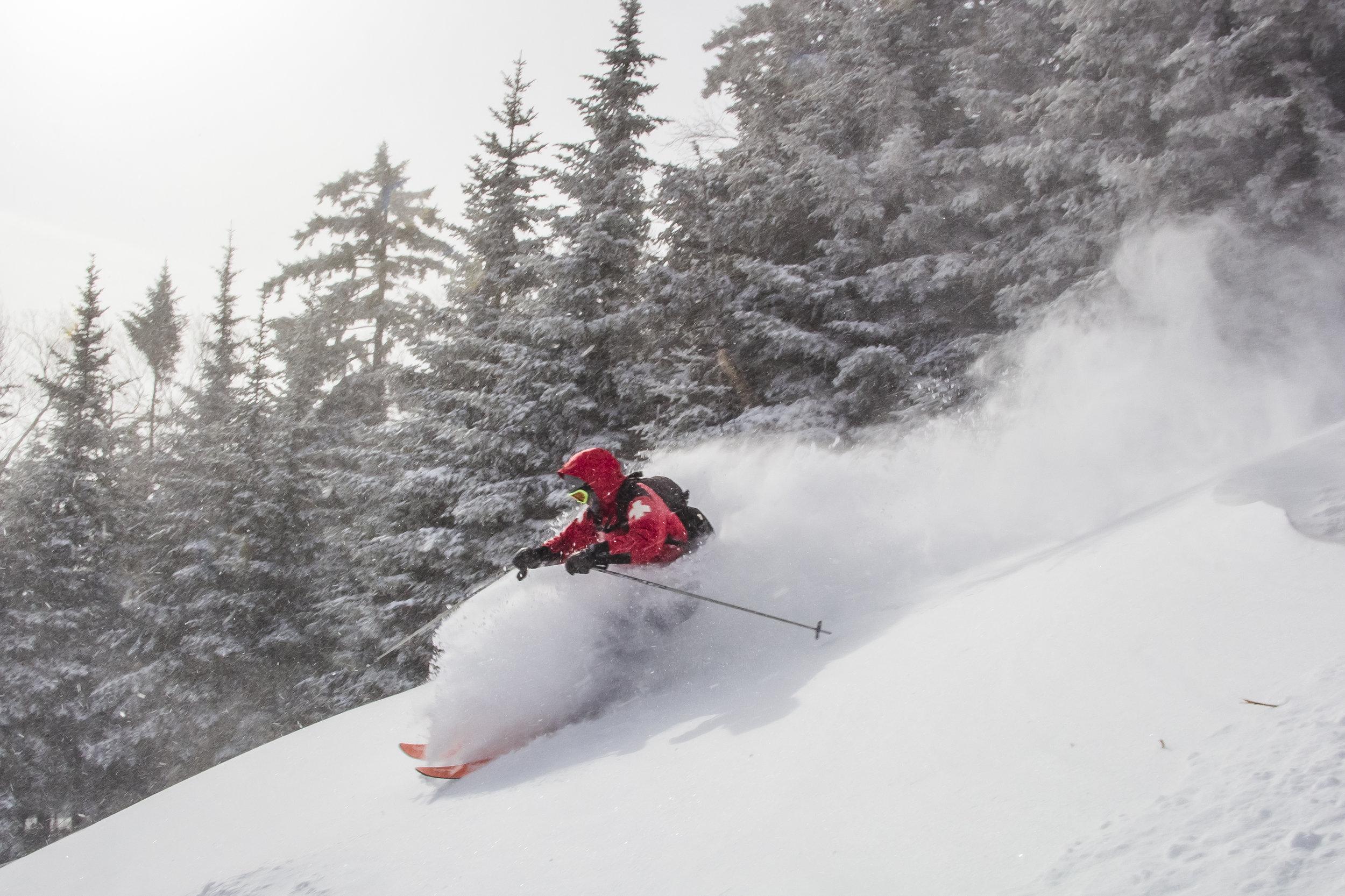 Skiing Powder at Jay Peak