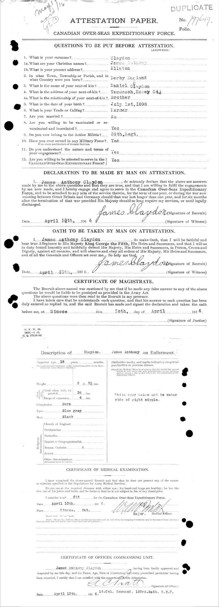 WWI Attestation Paper - 133rd Battalion – Norfolk's Own