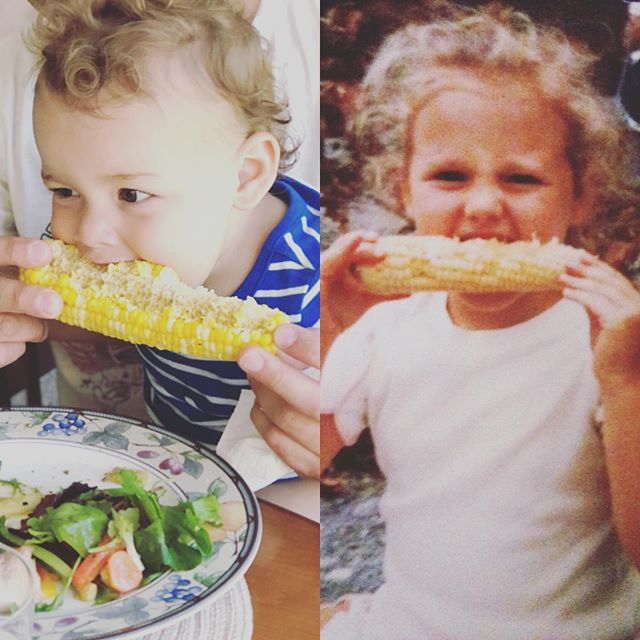 #minimemonday The apple really doesn't fall far!! Happy #memorialday and kick off to #summer #corn and a #baby swimming pool. That's how we roll🥰