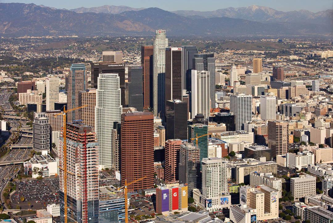 Downtown L.A. with San Gabriel Mountains