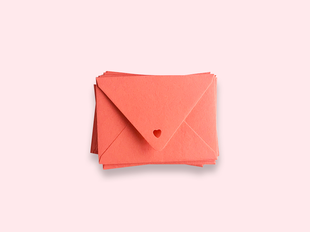 Mini Coral Envelope from our Mini Foil Heart Stationery Set