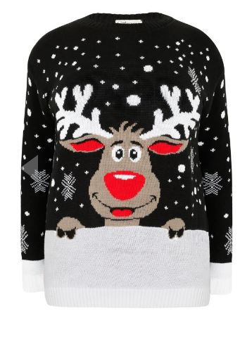 Yours Clothing Sienna Couture Black Rudolf Reindeer Christmas Novelty Jumper