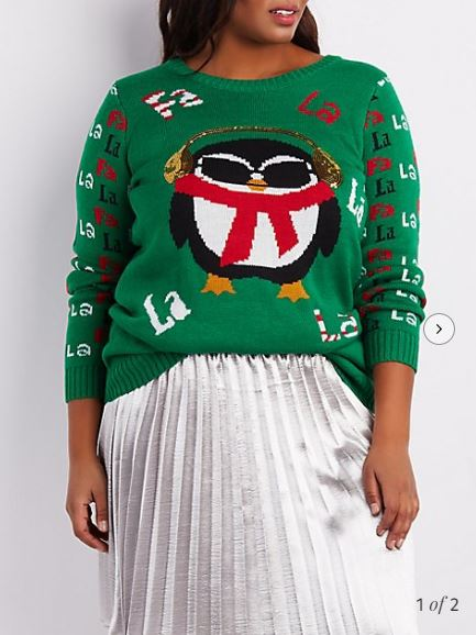 Charlotte Russe Plus Size Singing Penguin Ugly Holiday Sweater