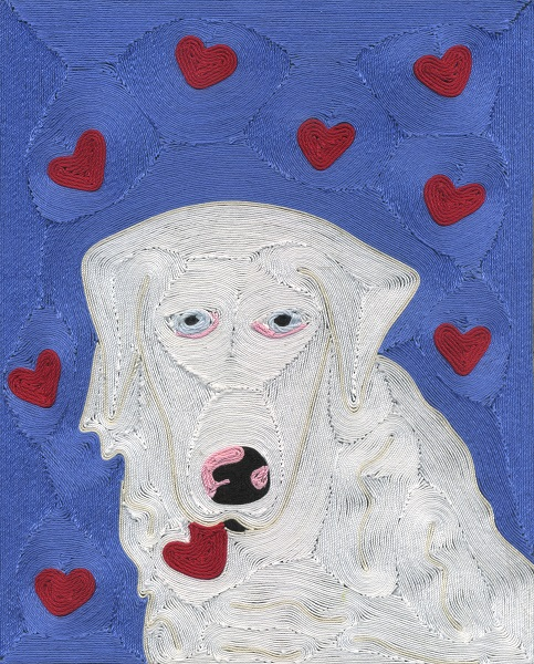 I chose to represent the torn bits as love. An all white dog was not easy!