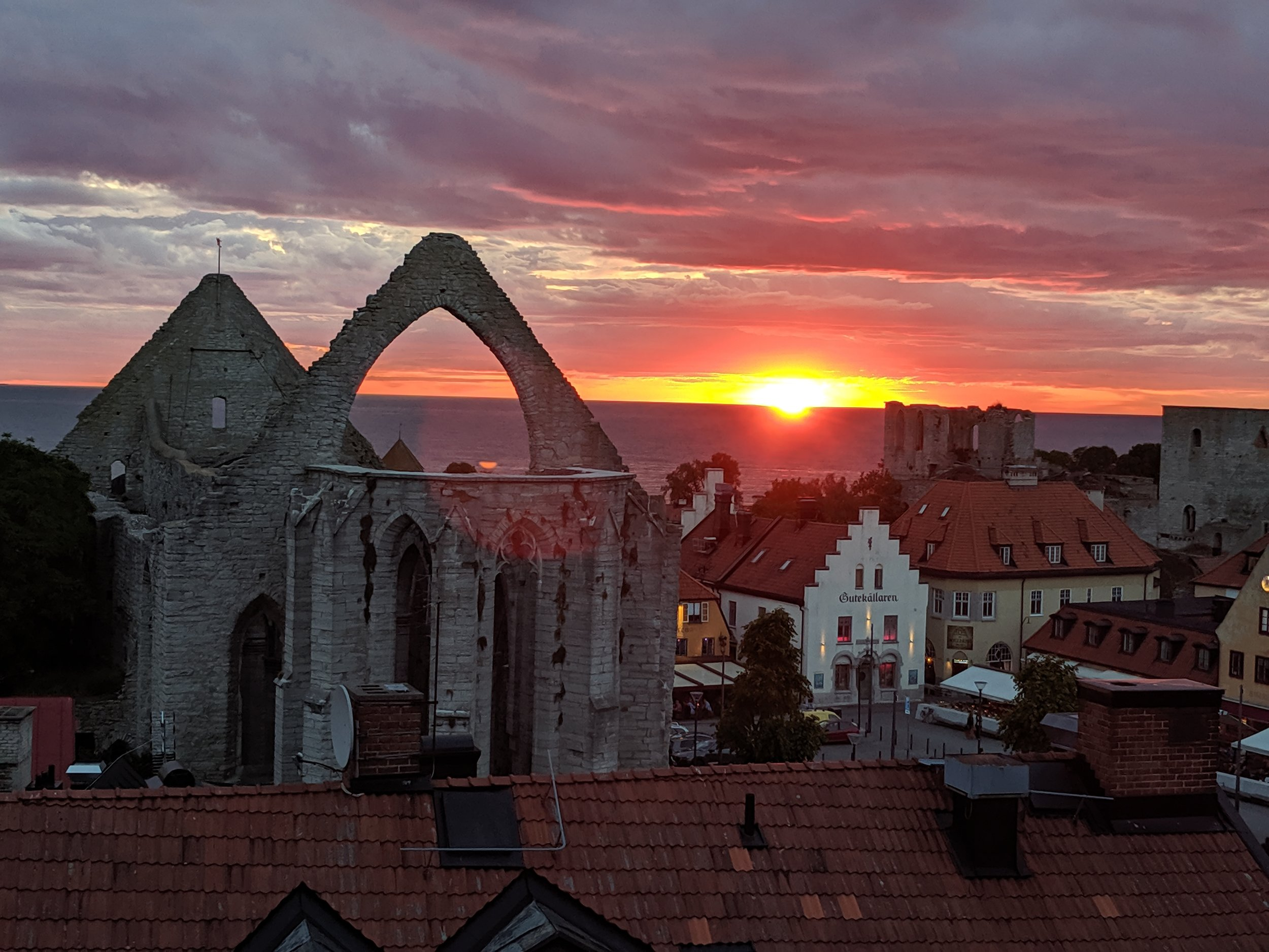 Sunset over Visby, Gotlund, a key Baltic trading center in the Hanseatic League
