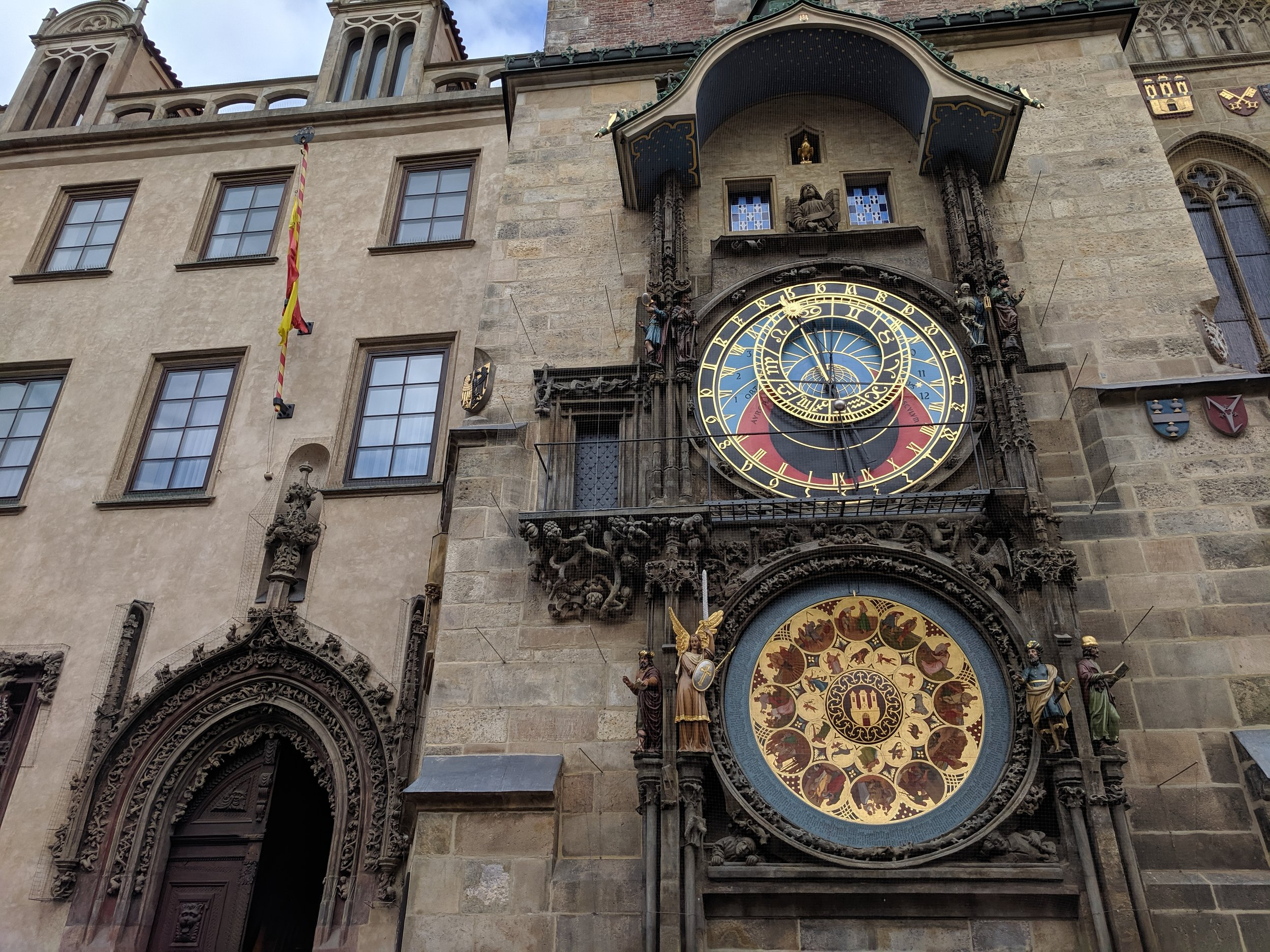 The 1410 astronomical clock chimes every hour and thousands crowd around to watch.