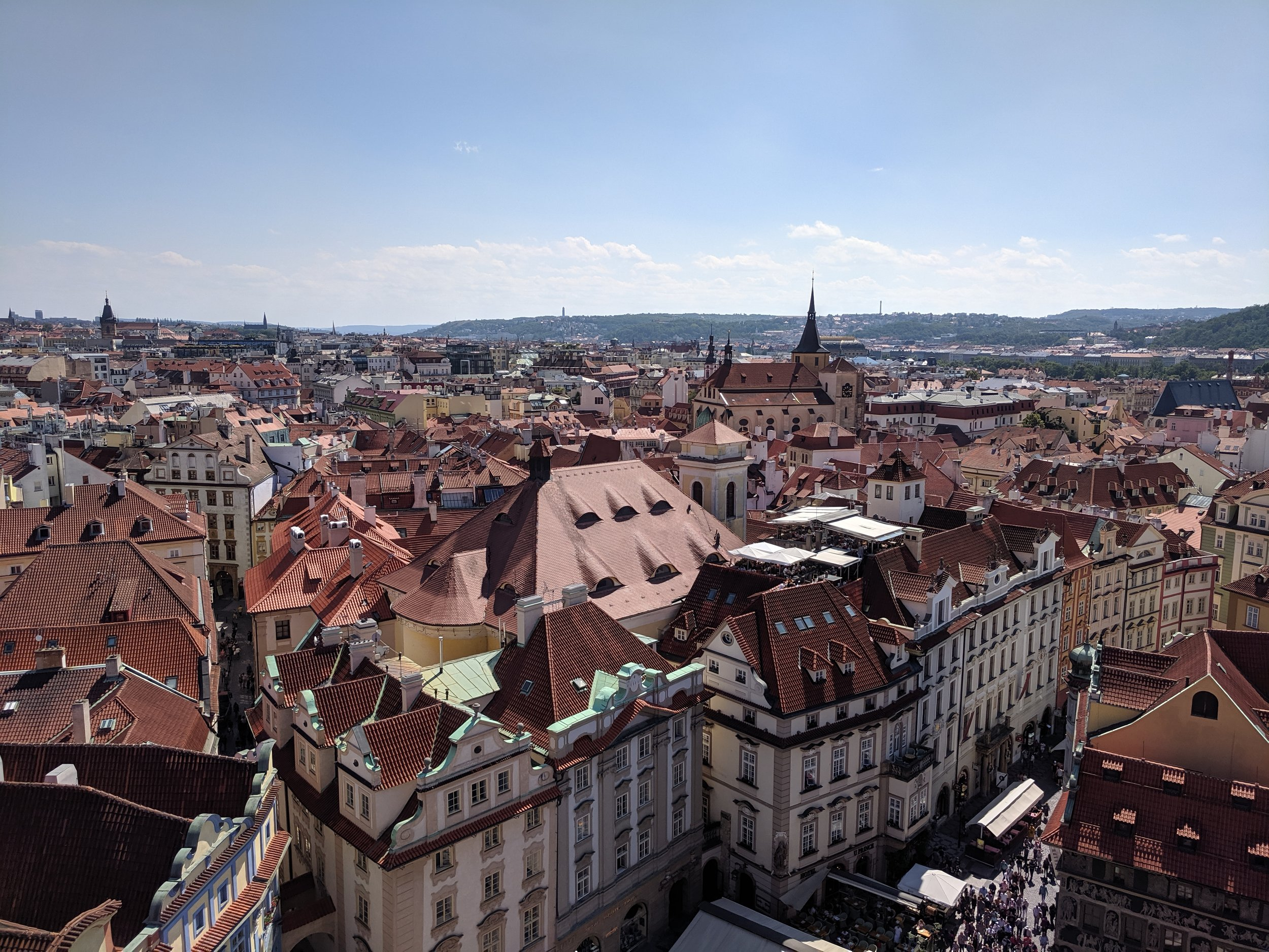 Bewitching view of Prague Old Town from atop the Town Hall where the astronomical clock chimes.