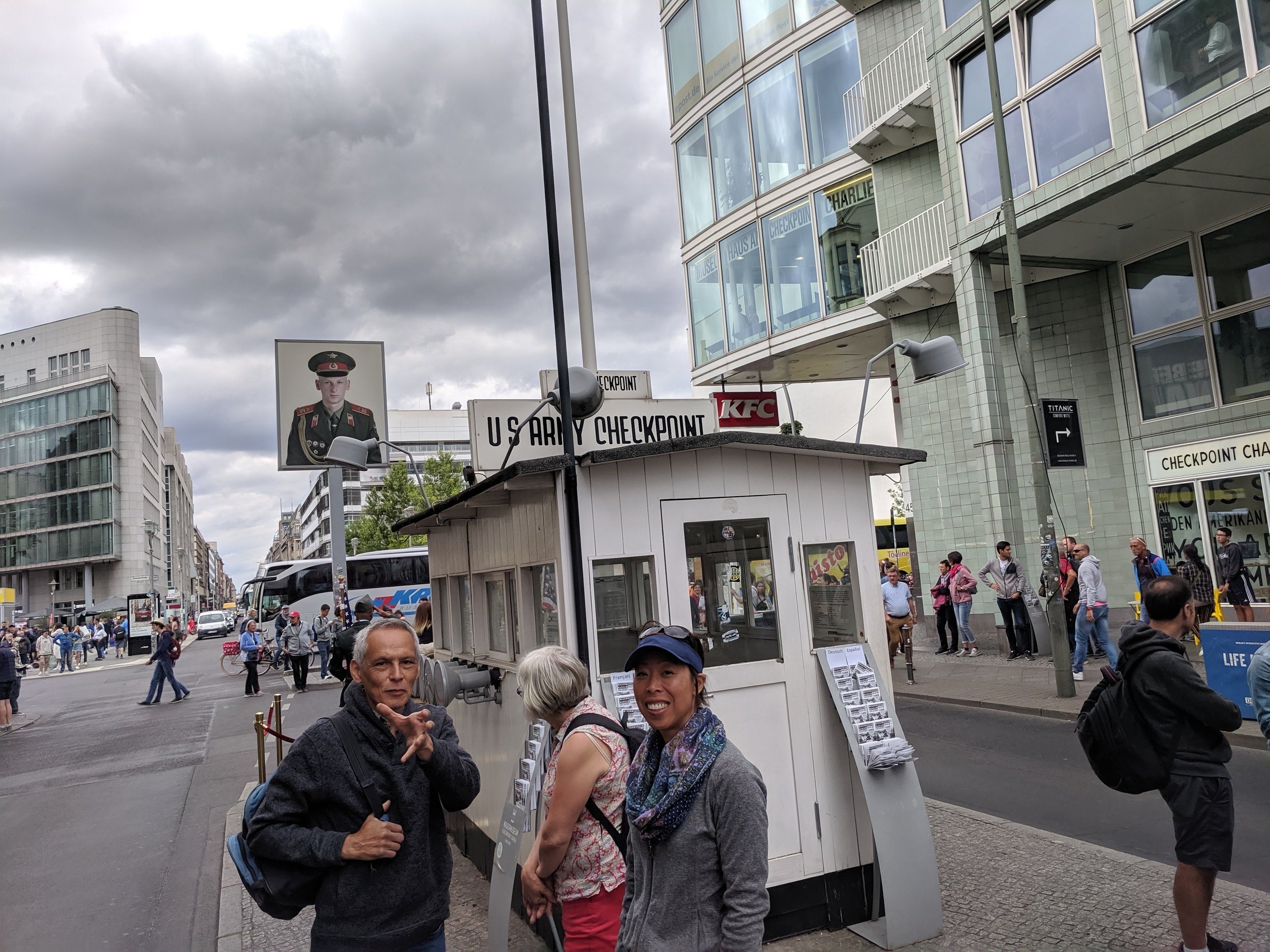 Checkpoint Charlie viewed from the US side. American and Russian tanks faced off across this divide with the looming threat of a Third World War that could have been nuclear.