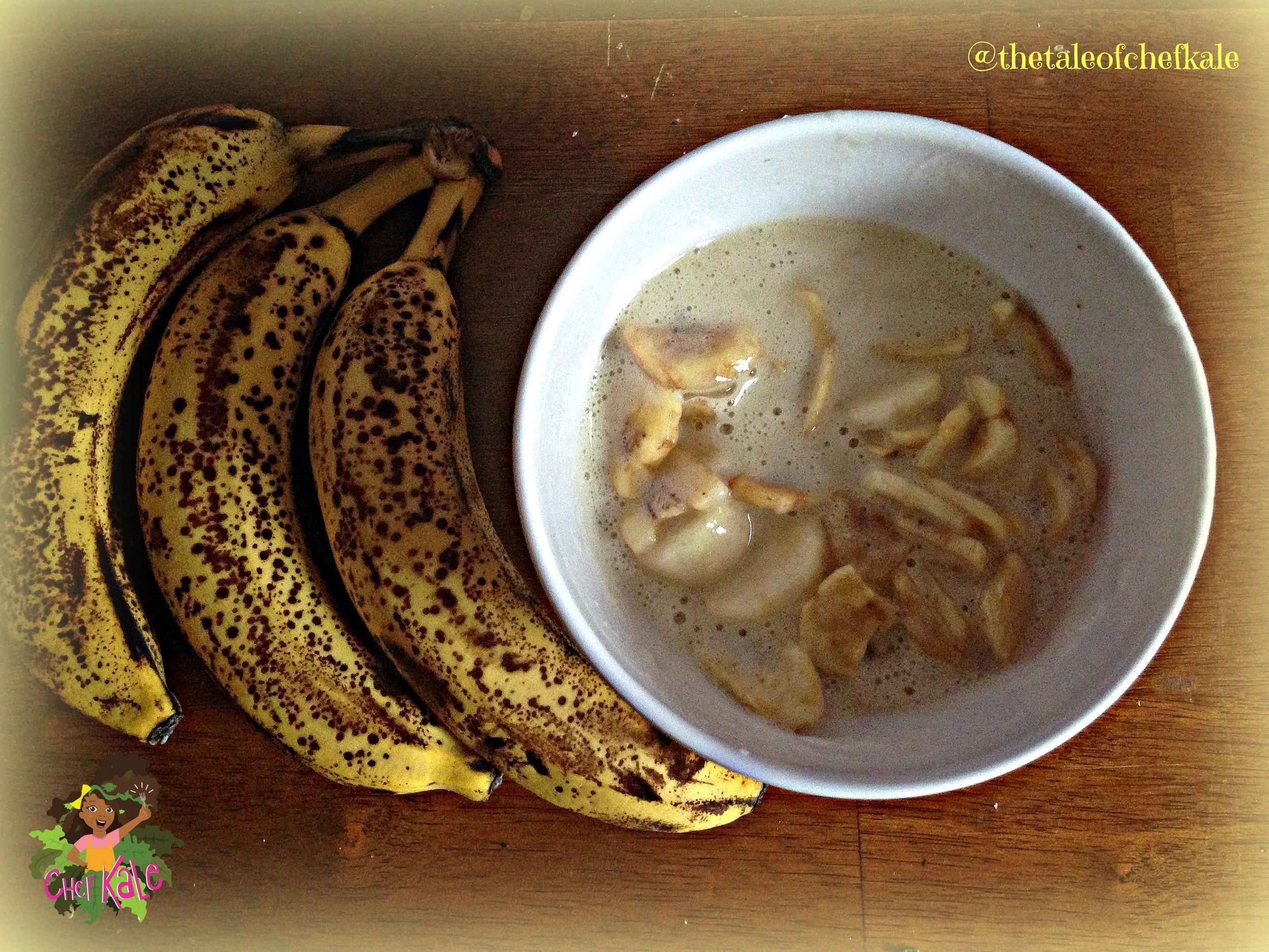 3 bananas, and 2 sliced bananas in Hay's Banana Milk