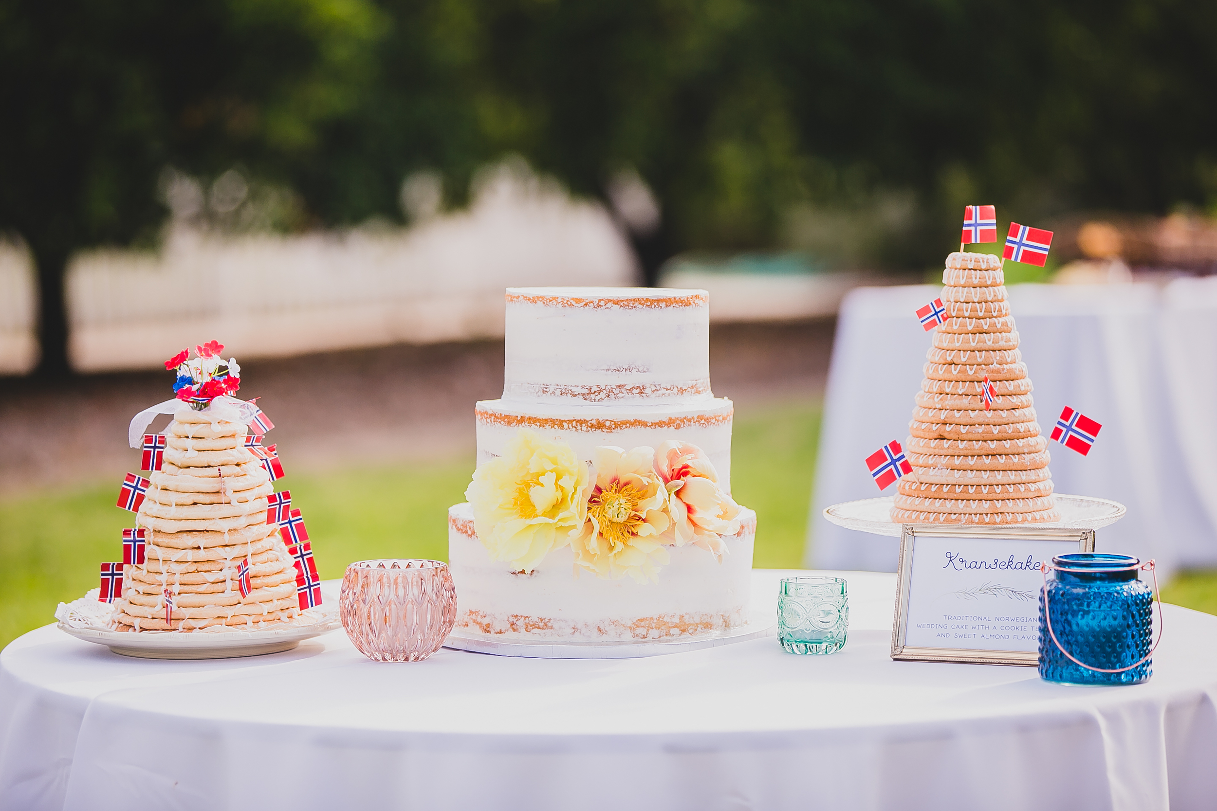 In addition to our naked wedding cake we also had traditional Norwegian  Kransekake  cakes. One came straight from Norway and the other was handmade by a family friend.