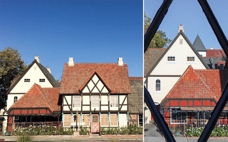 A view of classic Solvang architecture from our room at Hamlet Inn.