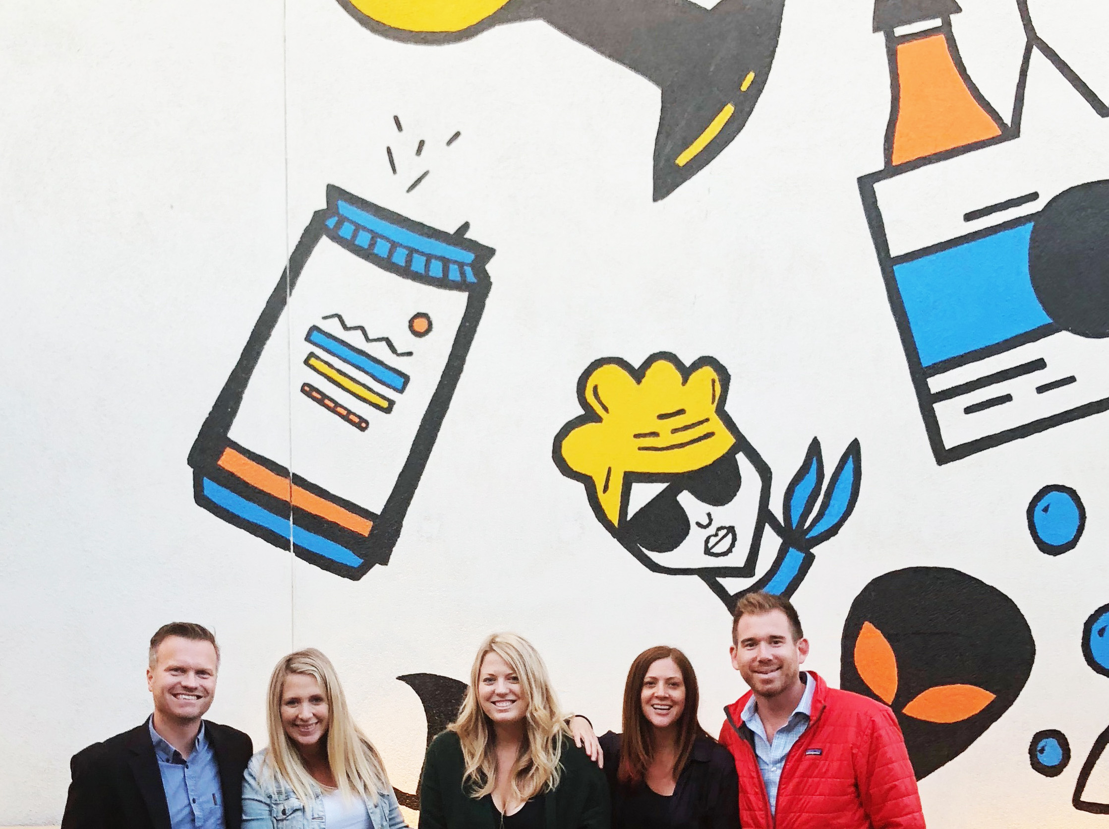 Me (center) with friends in front of the OUTDOOR PATIO MURAL AT POUR COMPANY. PHOTO BY NORDIC FOX DESIGN CO