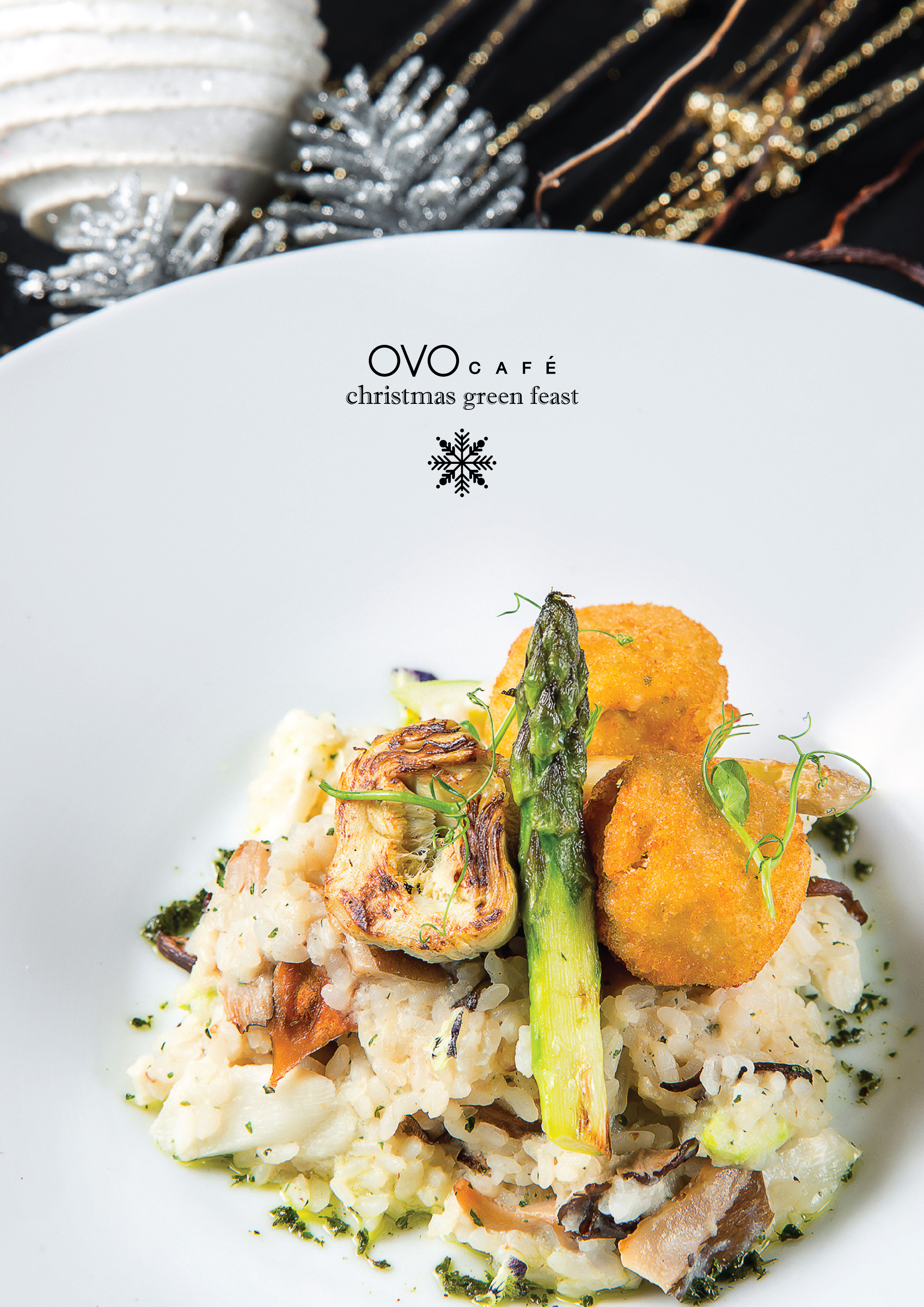 white asparagus rhubarb risotto with truffle cream sauce 松露忌廉汁白露筍意大利飯