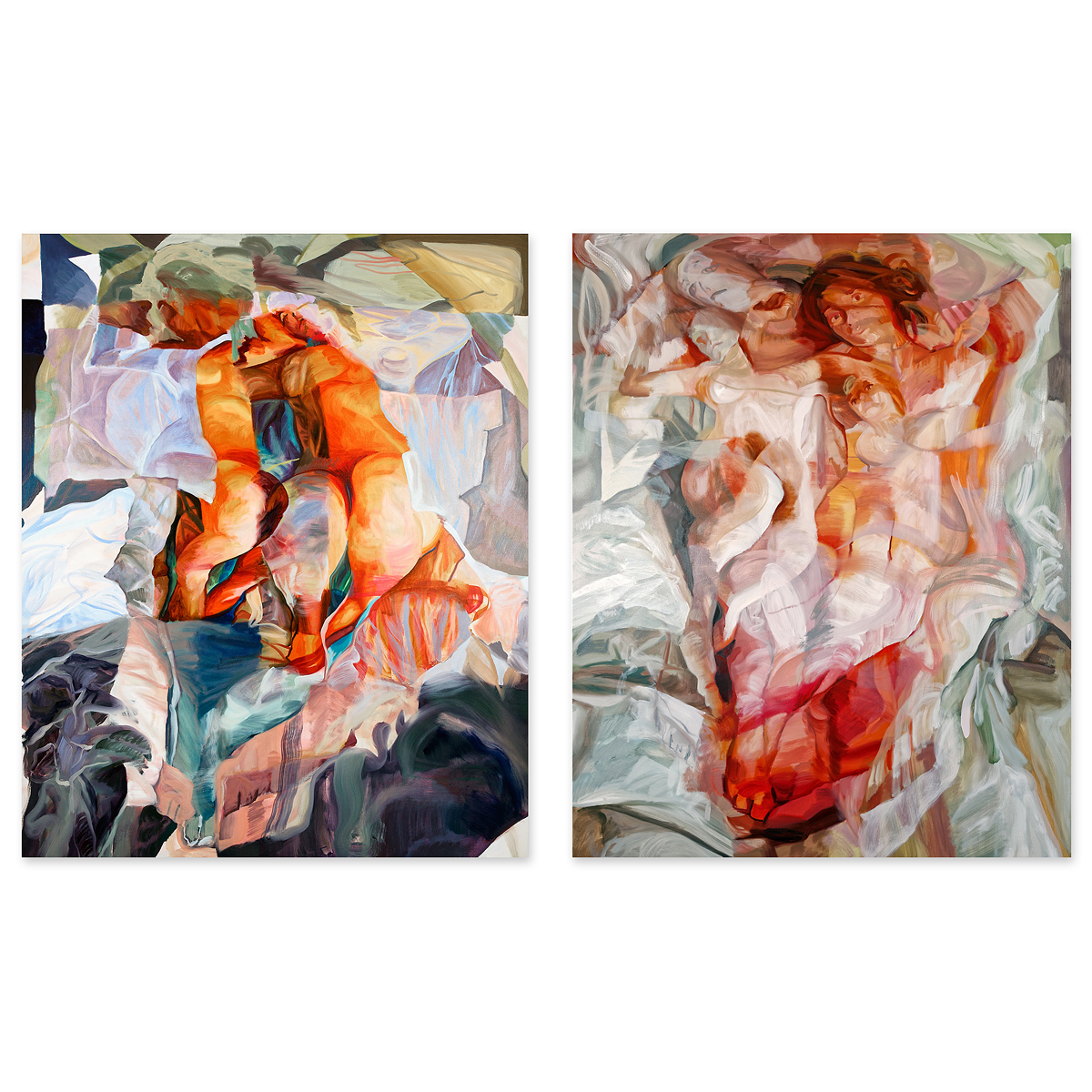 Barycenter I (left) and Barycenter II (right). Each 120 x 150 cm. Oil on Canvas