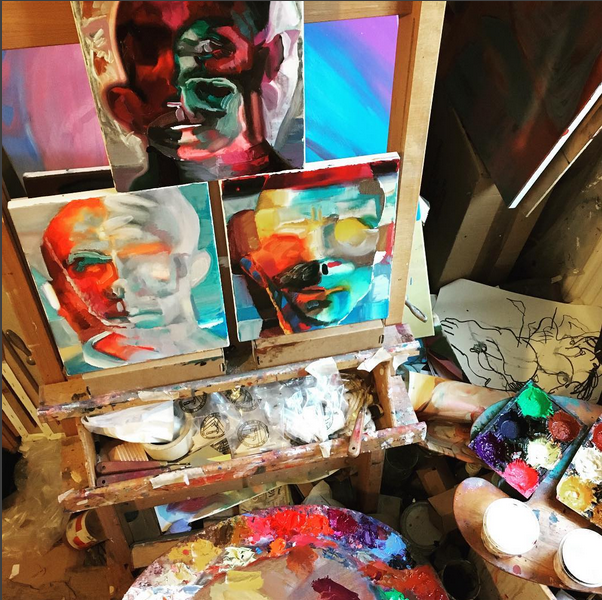 three painted self portraits in the studio