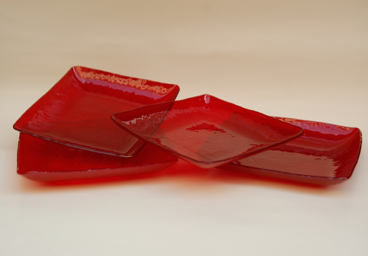 Bold red glass square dishes