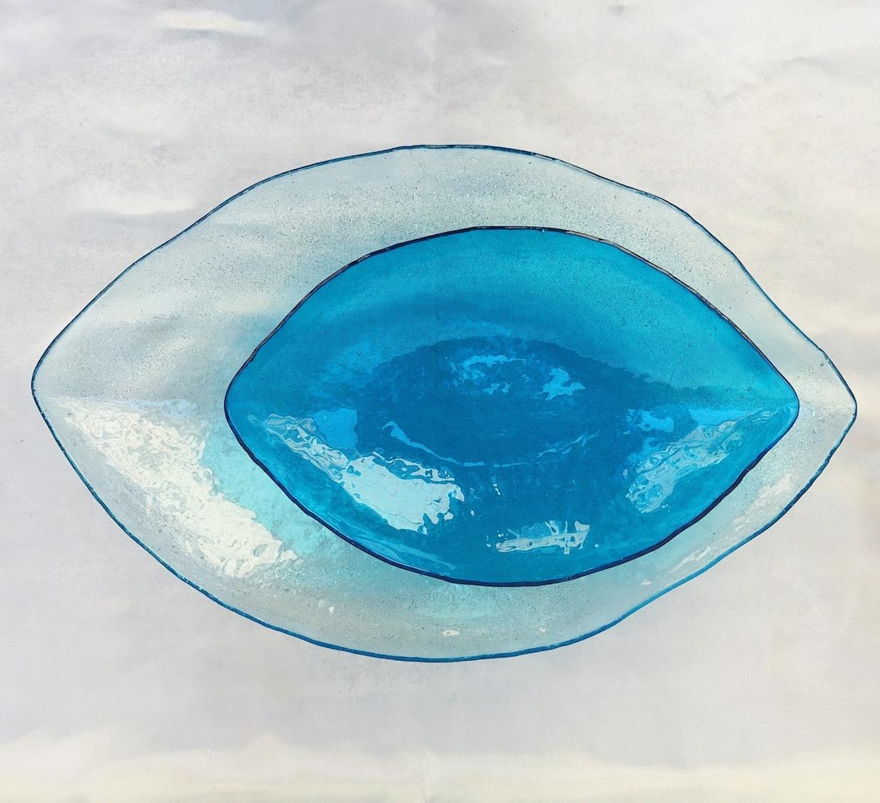 Glass leaves blue
