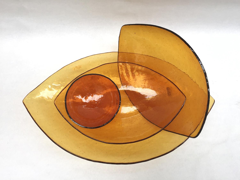 Set of orange leaves plates