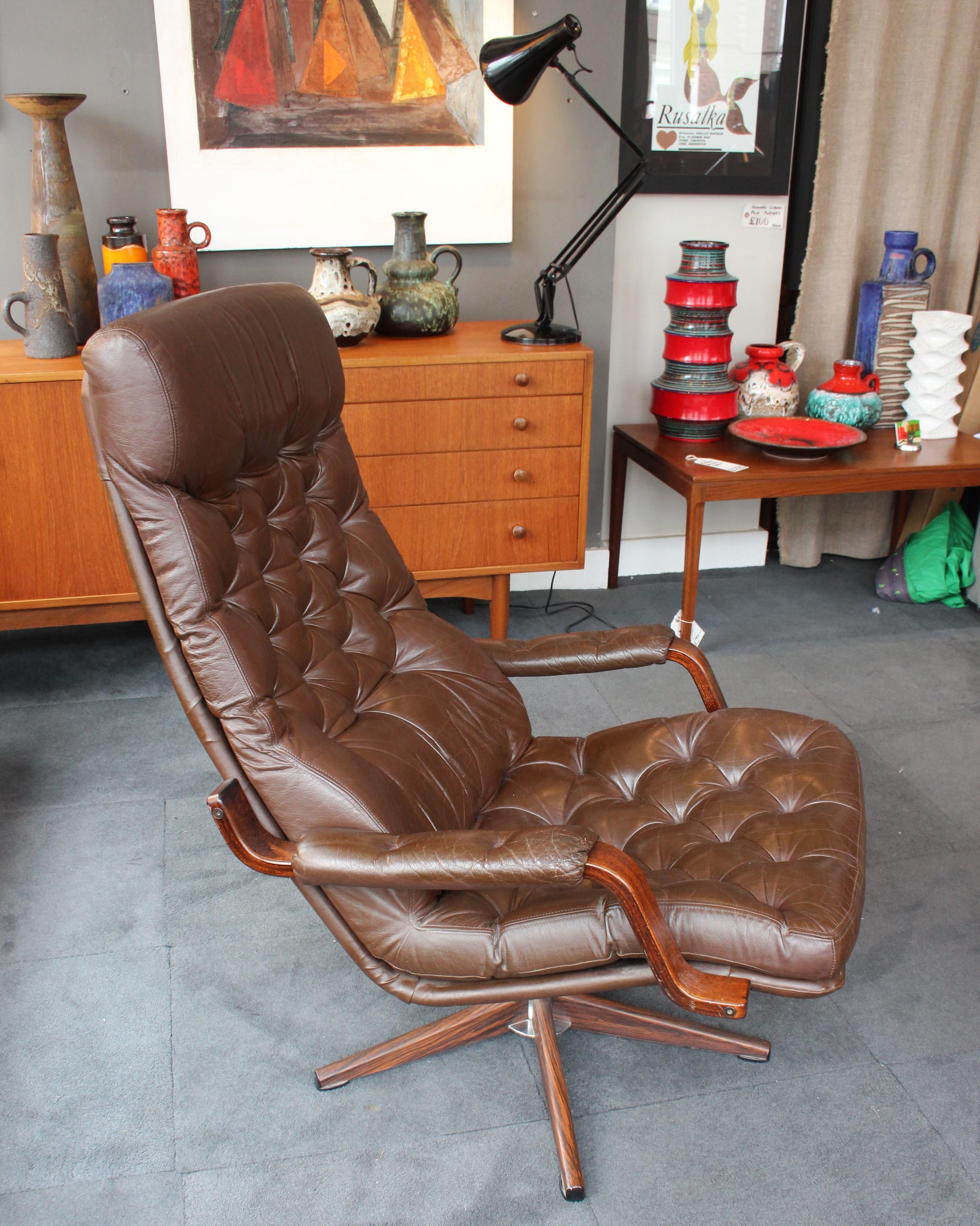 Danish leather swivel chair 1970's £350