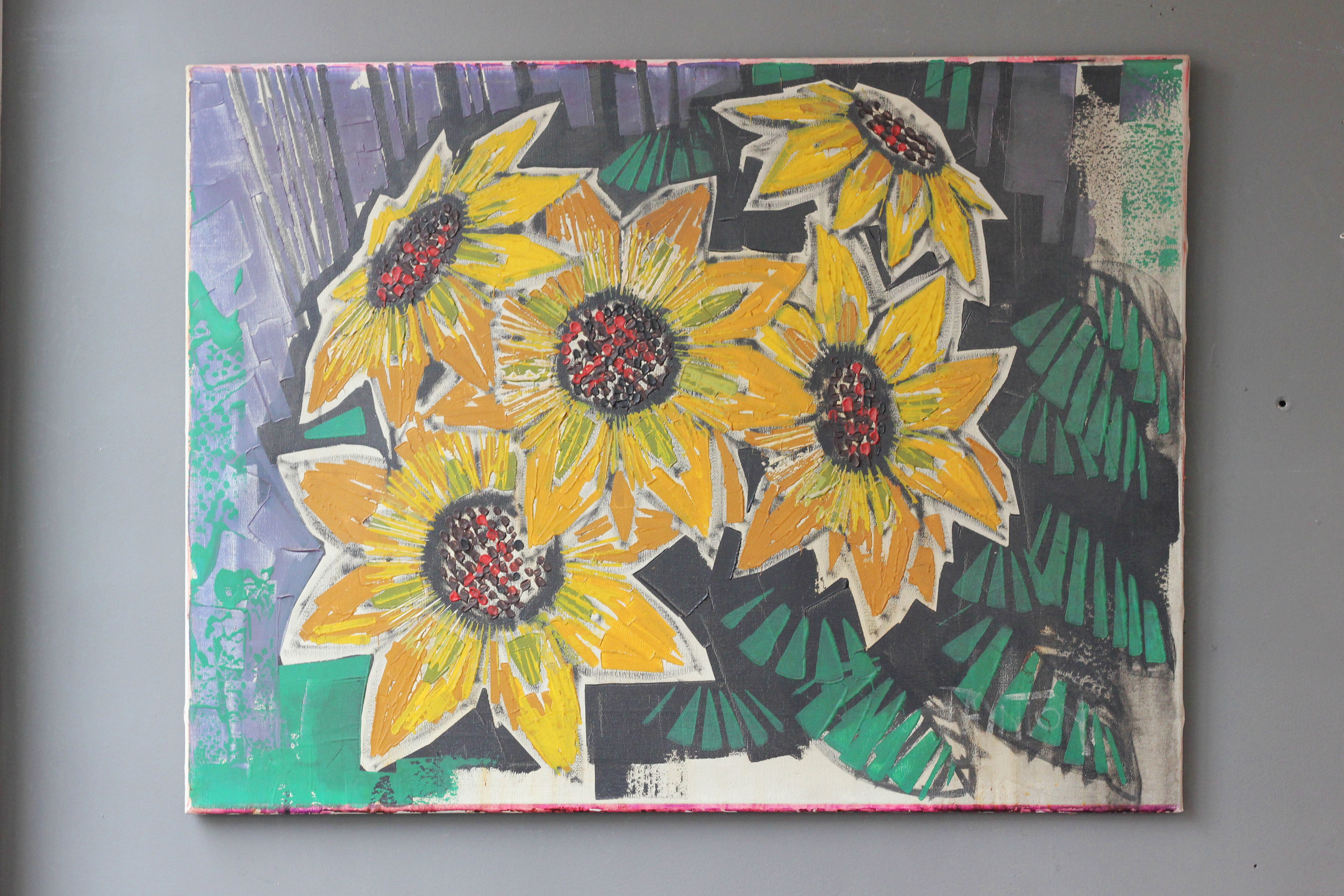 Oil on canvas of flowers, 1960's. £225