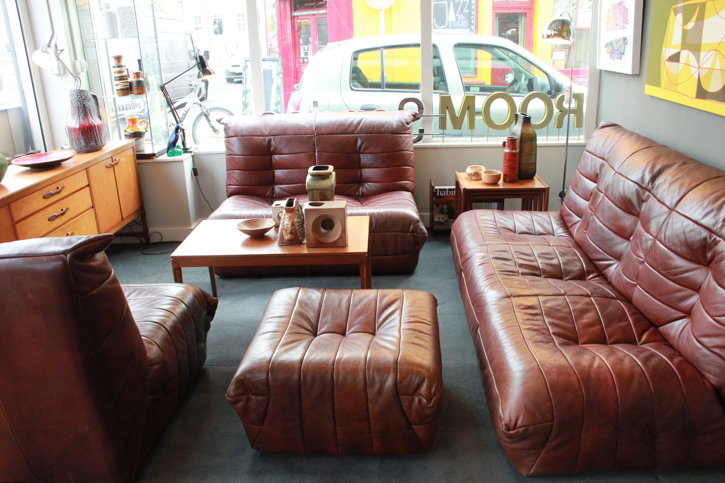 SOLD   -Leather Suite, 2x Sofas, chair and pouffe, very thick leather, Ligne roset style £1,700
