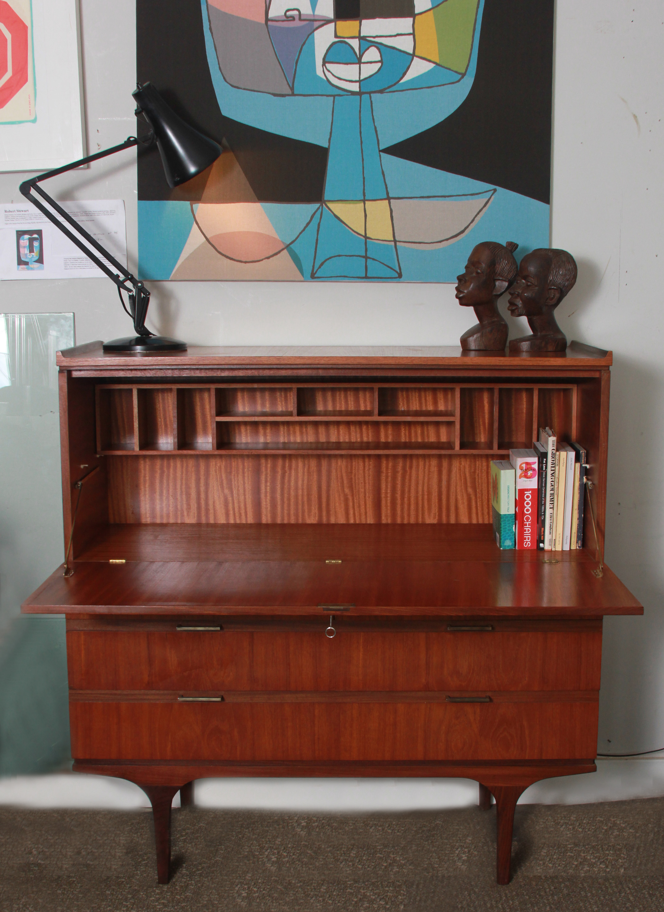 SOLD  -  teak bureau with drawers by meredew (england) £375