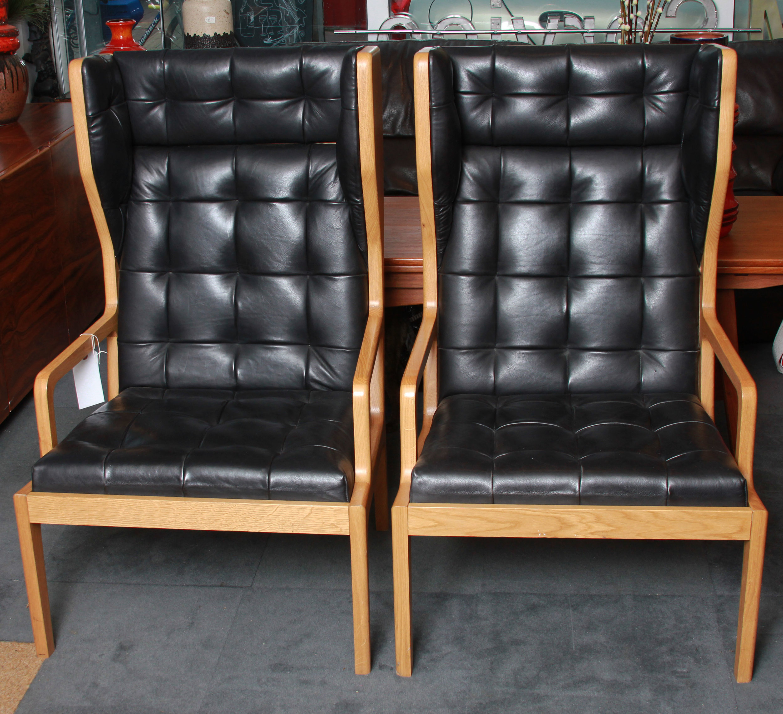 SOLD  -    Pair Solid Oak+Leather Chairs £1550