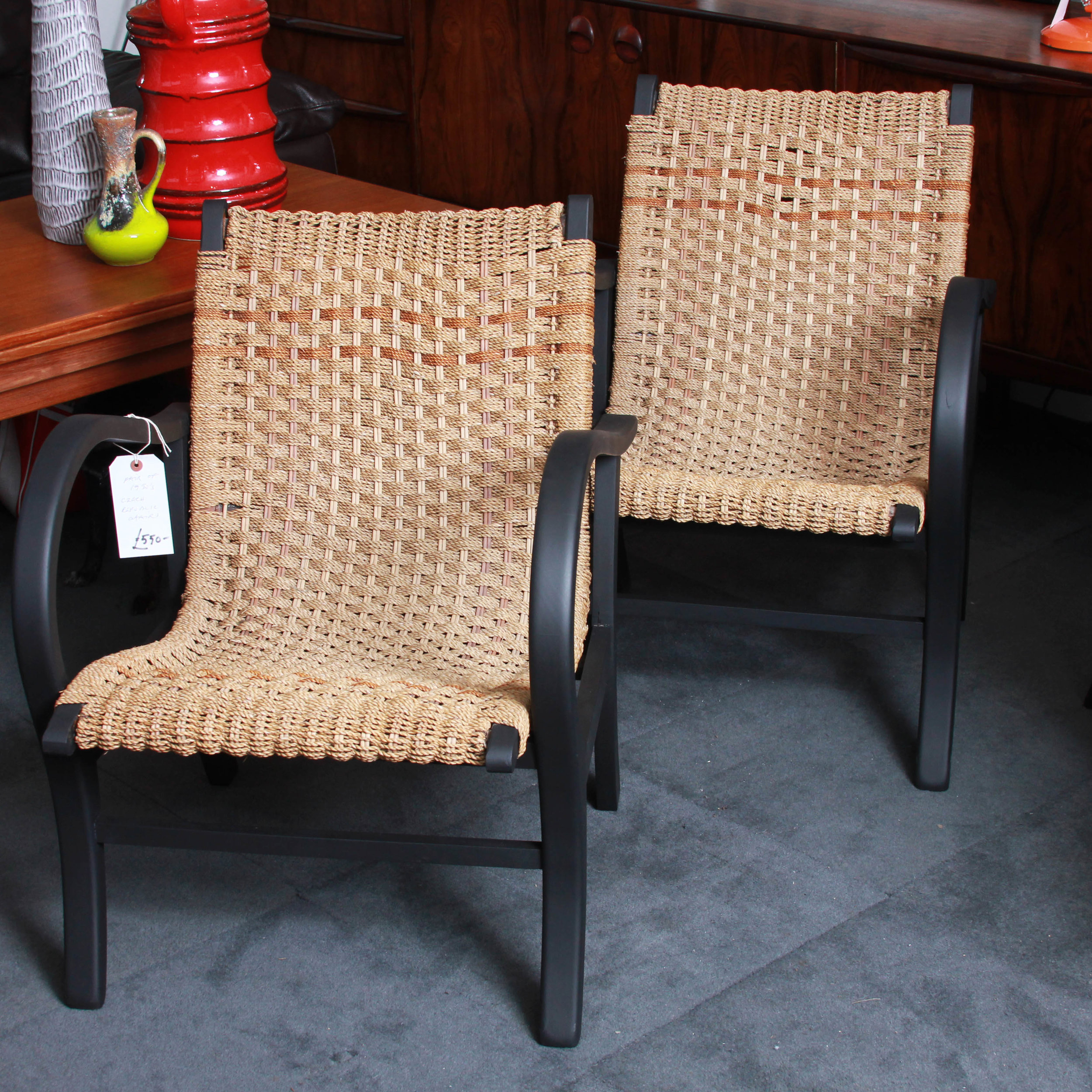 Pair Rope Czech Chairs 1950's £550