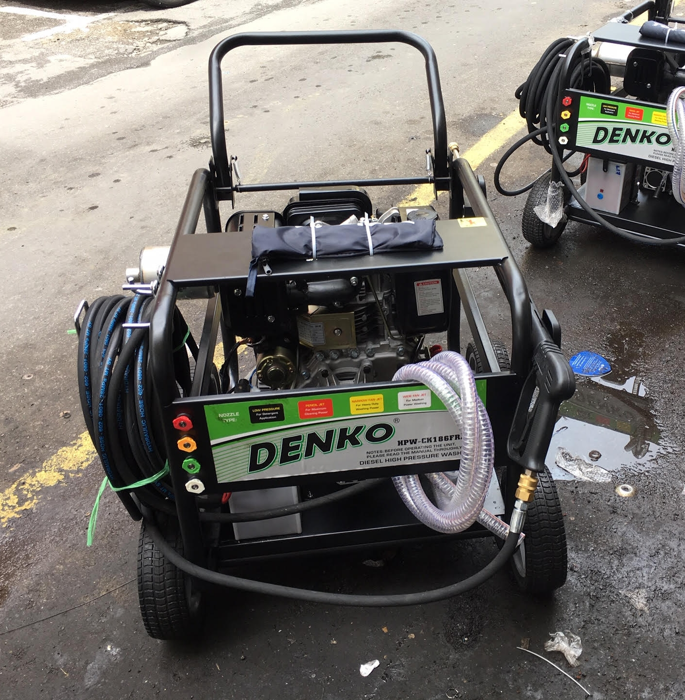A Denko HPW-CK186FRE high pressure washer (3600psi) , suitable for heavy duty use such as on oil platforms.