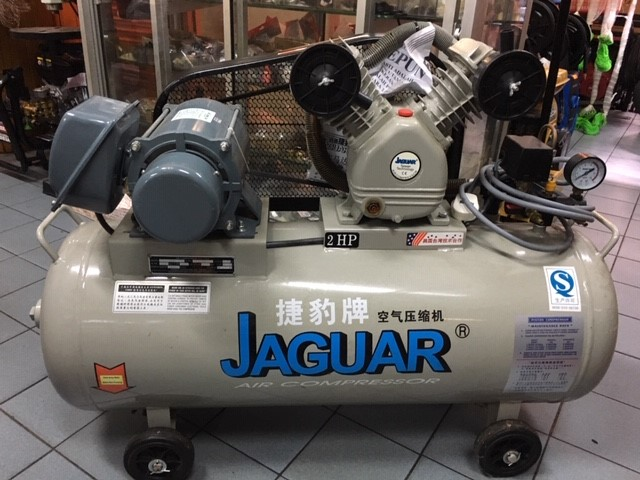 A 100L Jaguar air compressor (Taiwan) with 2HP Koyo motor (made in Japan) available in-store.