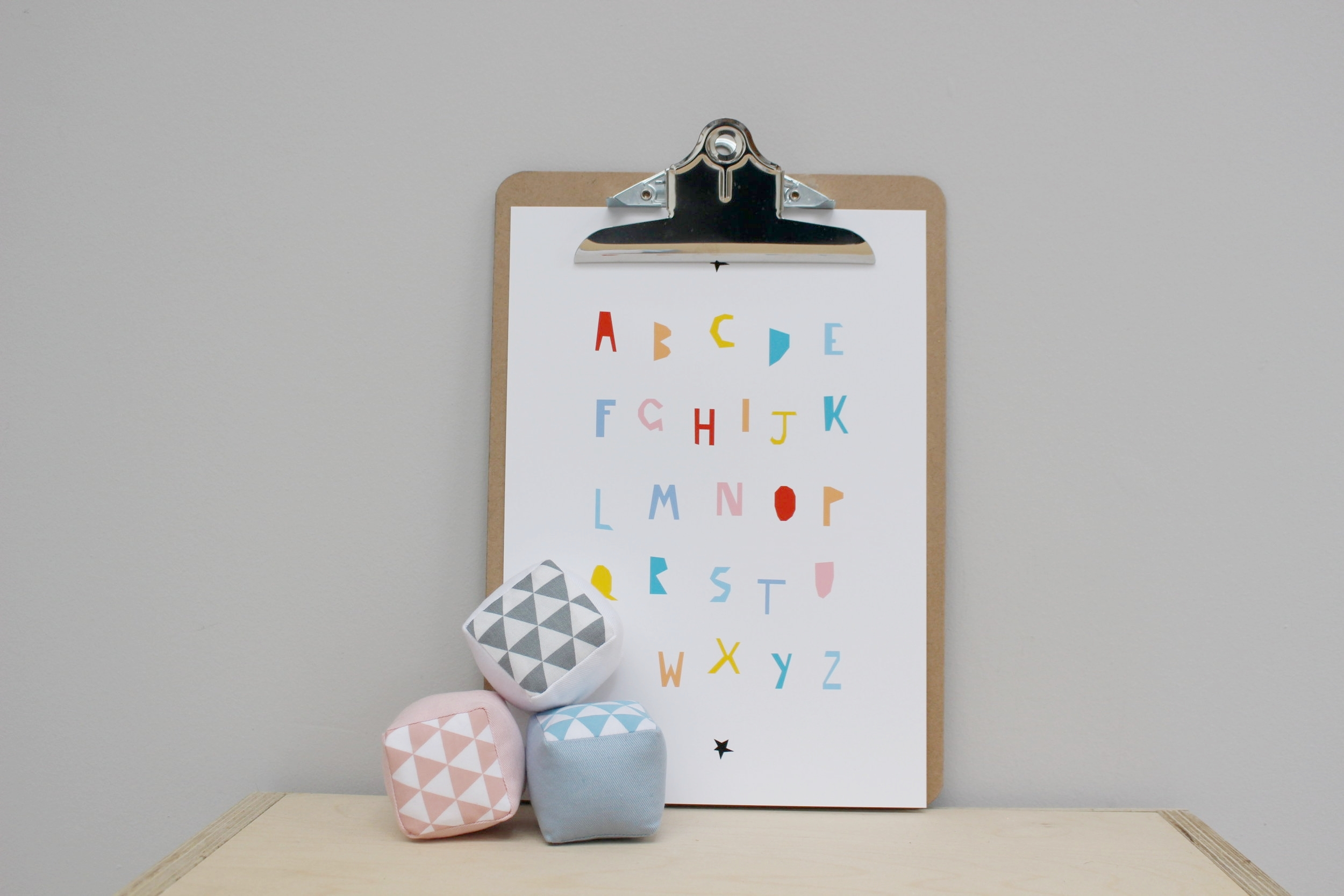 Colour Blocking. New Alphabet Print in Colour by Ingrid Petrie Design with our Soft Alphabet Blocks