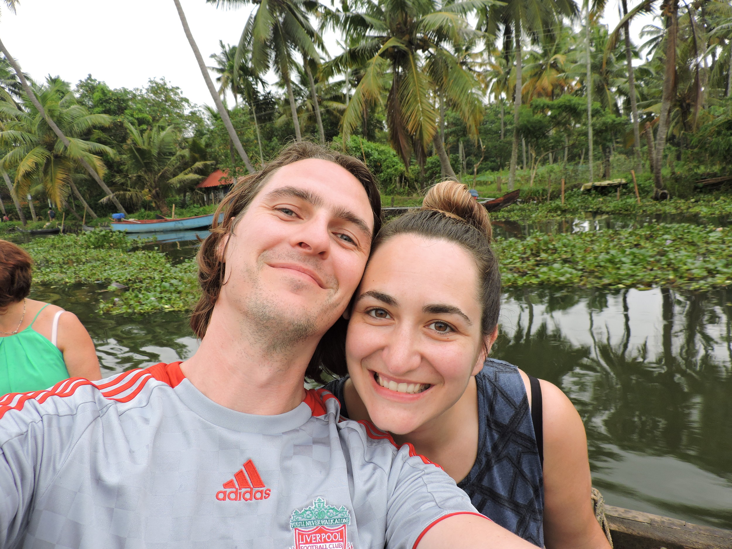On our honeymoon in Kerala during a tour of the Backwaters.