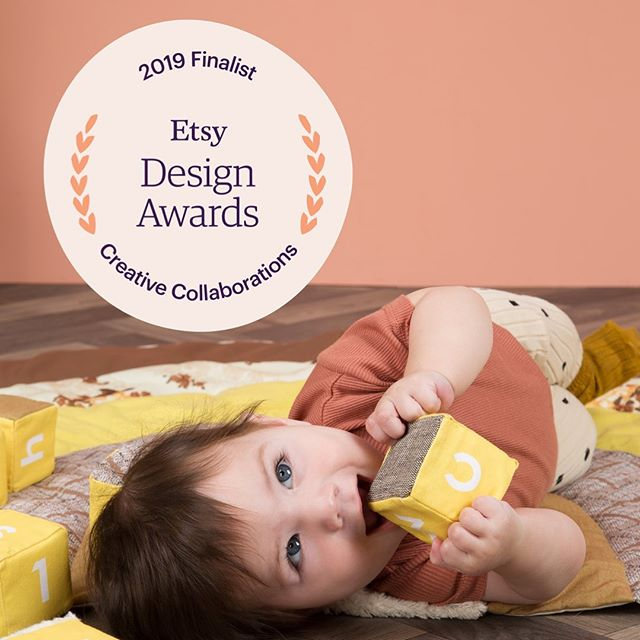 I was meant to announce my big news yesterday but my phone was in the shop for 3 hours and I'm in charge of two little people. So here goes, I am happy as a clam to announce that I'm a Finalist in the GLOBAL Etsy Design awards for the Mustard Sensory Alphabet Blocks! Winners will be announced in September and I could win $1000 or $15000 grand prize so fingers crossed! Thank you so much to all of the judges and to @etsyuk @etsy @etsysuccess #etsydesignawards