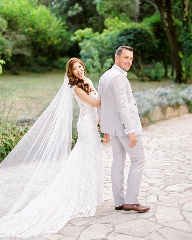 Love the candid shots moments after becoming #mrandmrs ! Huge love to these two who celebrated their anniversary this week - I still dream about their  beautiful wedding location , a gorgeous villa nestled between olive groves in #Cannes - #perfectfrenchwedding