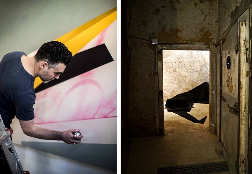 Left:  Remi Rough working, photo by Marco Cavarischi /  Right:  Remi Rough – SOSM Installation