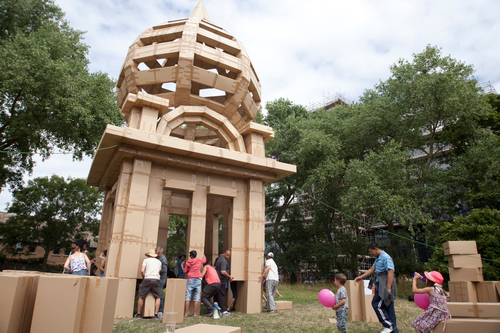 The People's Tower  2015  Across the summer of 2015, five unique, temporary towers were created by over 1000 local people, constructed using nothing more than people power, tape and cardboard boxes!   READ MORE