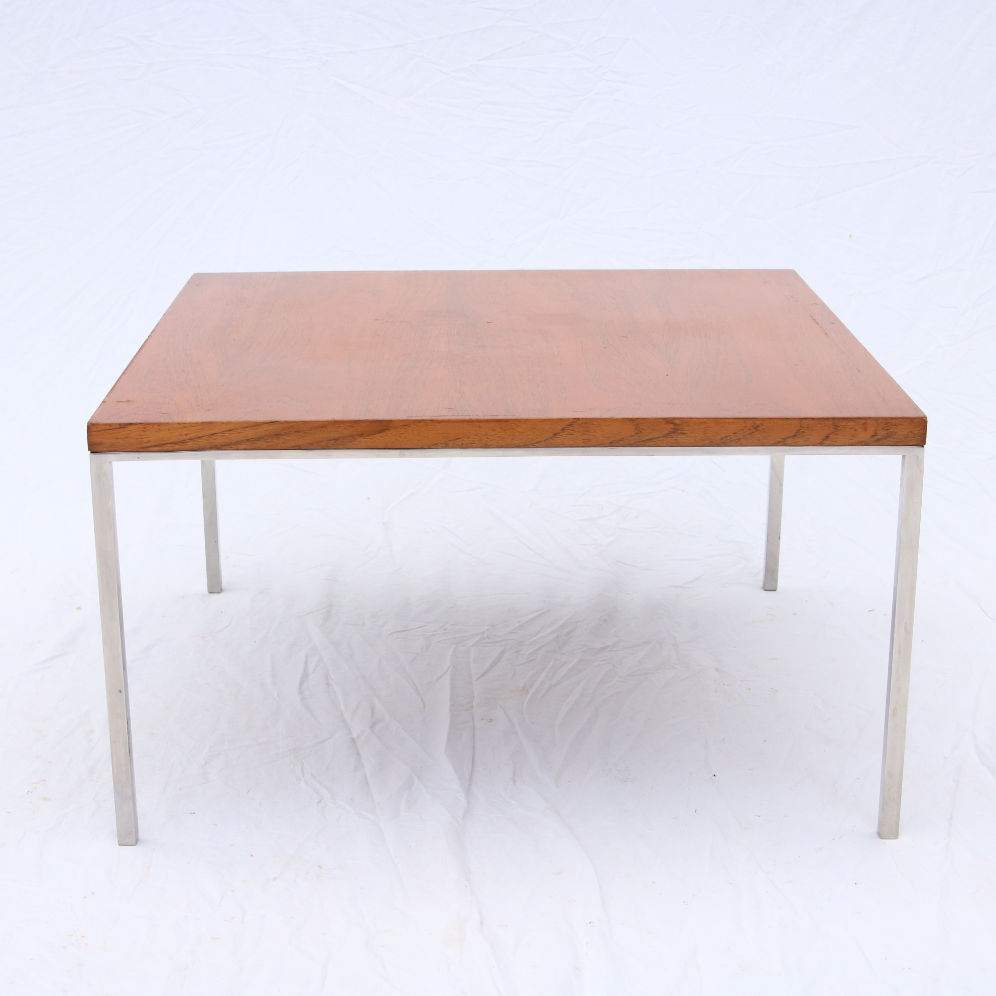 Vtg Chrome And Walnut Coffee Table In The Style Of Florence Knoll Modern Design Lee Dowdy Antiques