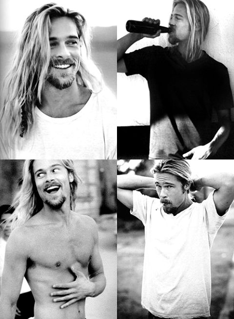 Brad Pitt, long hair and manly AF