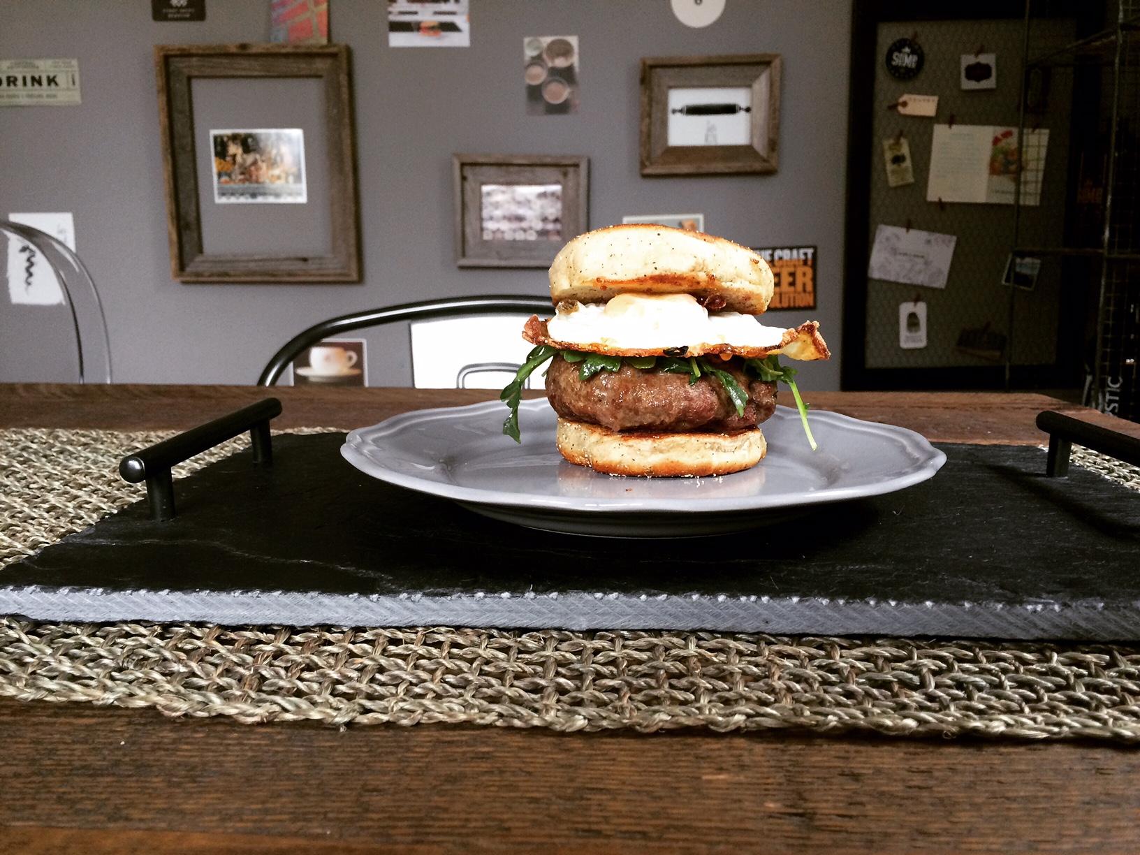 F & C Short Rib Burger on an Herb English Muffin