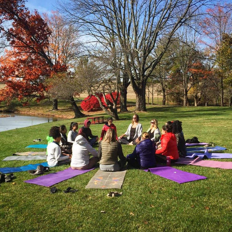 Meditation session from last year's retreat at lakeside manor