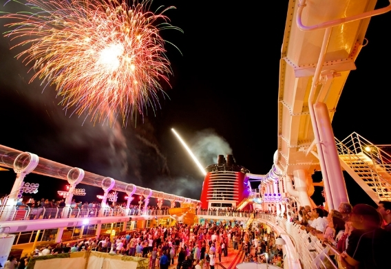 Pirate Party fireworks (Disney is the only cruise line that can launch fireworks at sea)
