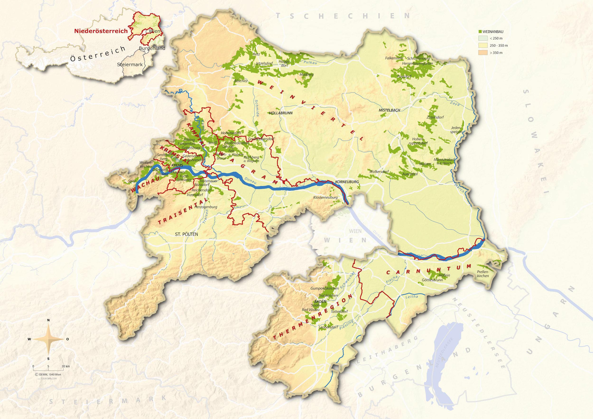 Mappa del Niederösterreich -Copyright:© AWMB  (cliccare sulla mappa per ingrandire)