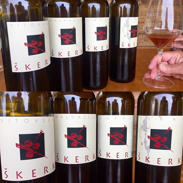 Is amber the next thing? Here an impressive line-up of macerated wines at Sandi Skerk, Carso, Trieste, Italy. #karst #carso #amberwine #skerk #prepotto #trieste