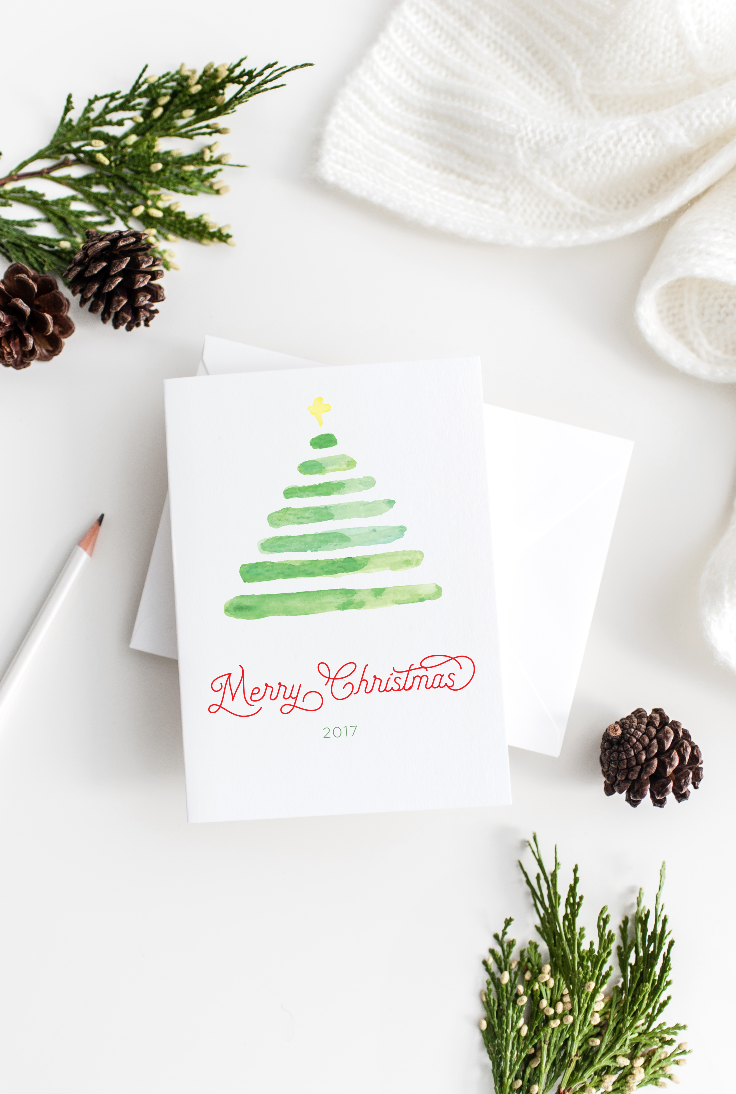 Merry Christmas Watercolor Tree - styled stock two.png